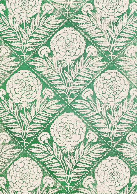 HAND PRINTED MARIGOLDS IN GREEN