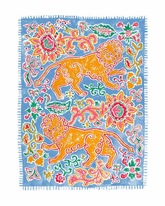 Lovely Lions Giclée Print in Blue