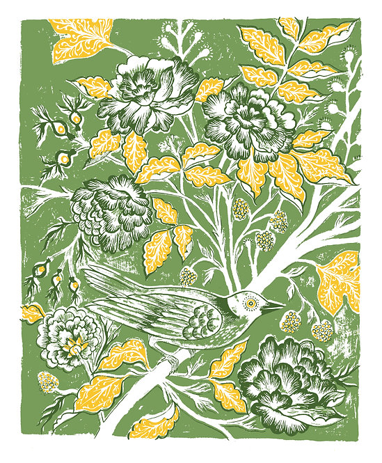 Rambler Giclée Print in Green & Yellow