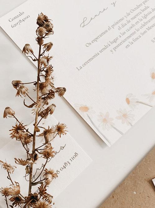 Invitación de boda margaritas