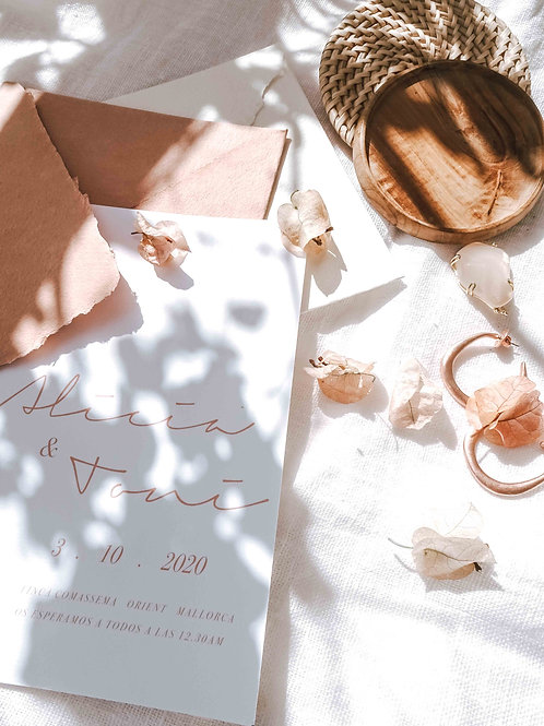 Invitación minimal en rosa