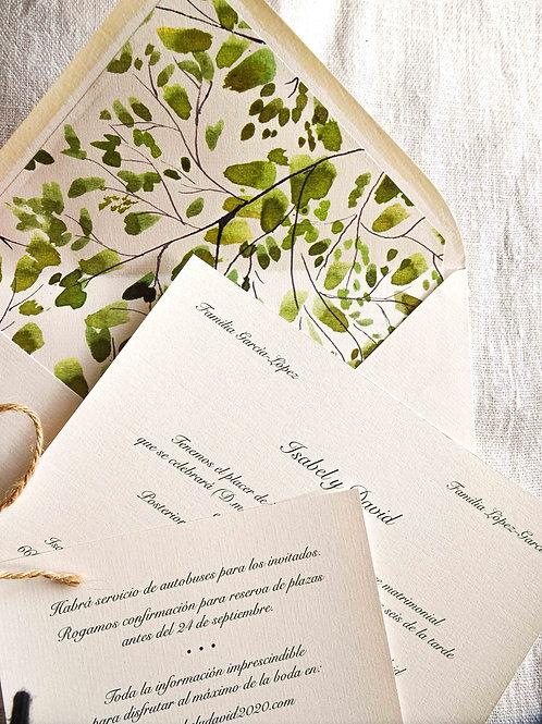 Invitación Acuarela verde