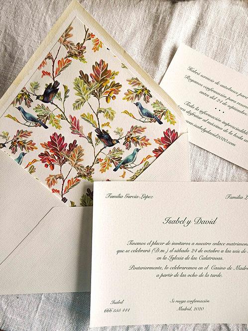 Invitación Pájaros del bosque