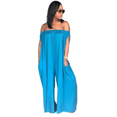 Off Shoulder Leg Strapless Jumpsuits