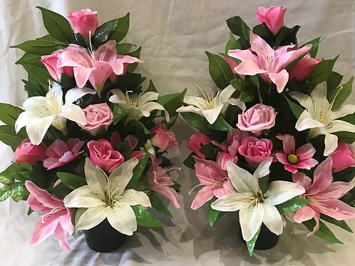 Flat-back Grave Pot Pink and White Lily and Rose Mix Pair