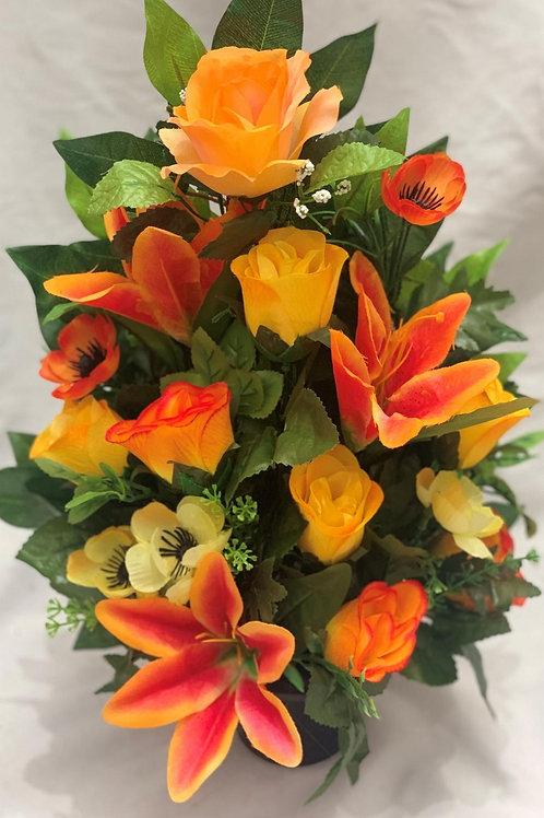 Flat-back Grave Pot Orange Lily Mix
