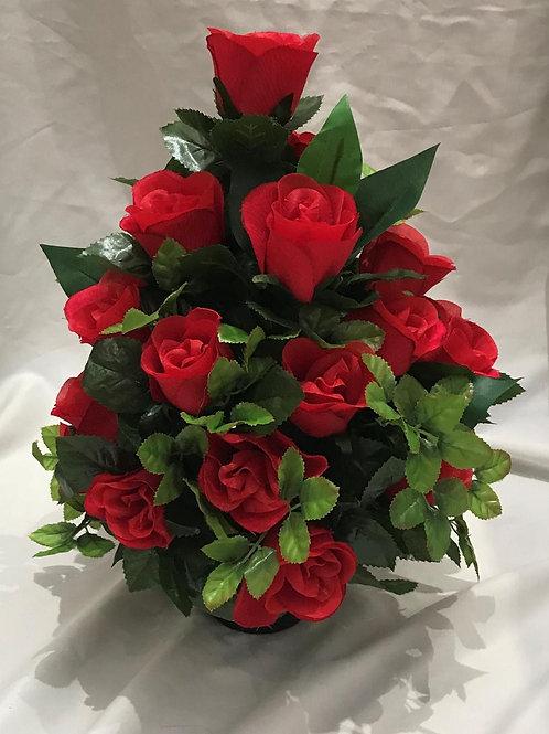 Red Rose Grave Pot