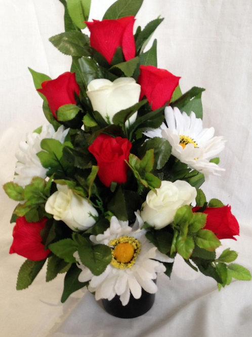 Grave Pot Roses and Daisy Mix