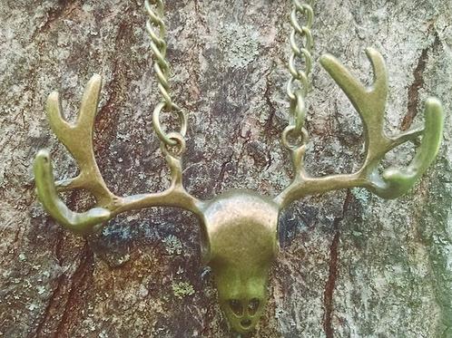 Patina Skull Head Necklace - Long Chain