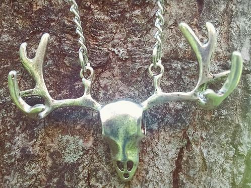 Silver Skull Head Necklace - Small Chain