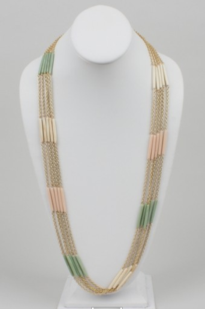 5 Chain Pastel Beaded Necklace