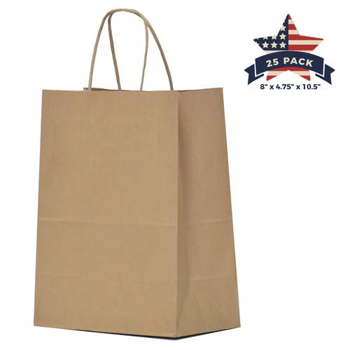 Kraft Paper Bag With Handles 8 Quot X 4 75 Quot X 10 5 Quot Qutuus