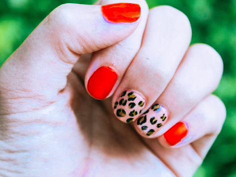 DIY Red and Cheetah print nails