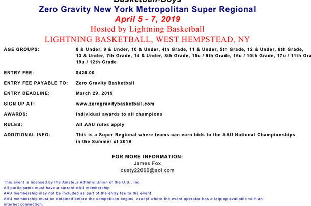 Zero Gravity New York Metro Super Regional