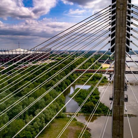 Most Świętokrzystki z drona ujęcia warszawy