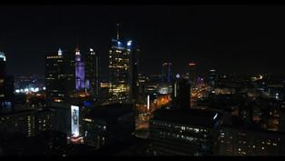 Warszawa Nocą z drona 4K