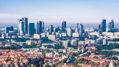 Zdjęcia z drona Warszawa panorama miasta
