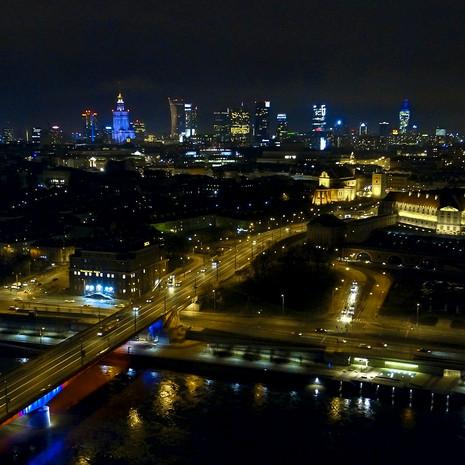 Warszawa nocą z drona 4K Zamek Królewski