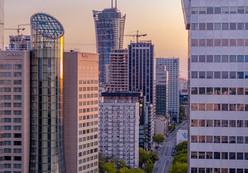 Wieżowce w Warszawie z drona Inspire 2