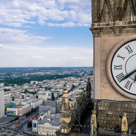 Zegar Pałacu Kultury z drona