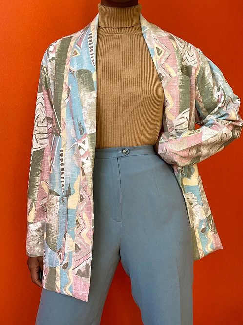 90's Pastel Abstract Print Blazer