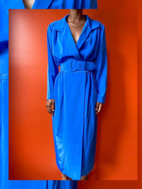 Blue Belted Poly Dress