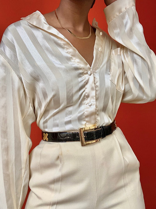 Cream Satin Striped Blouse