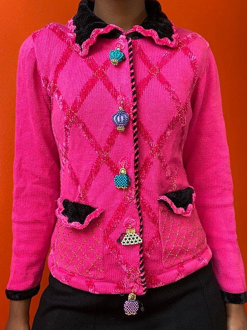 Pink Purse Button Cardigan