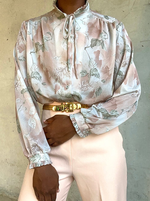 Floral Ruffle Neck Blouse