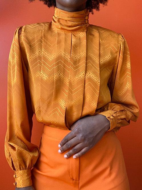 Orange Pleated Blouse