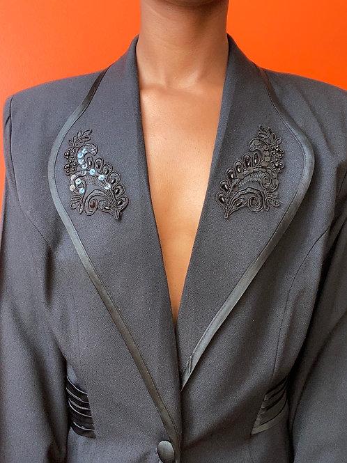 Black Floral Embroidered Blazer