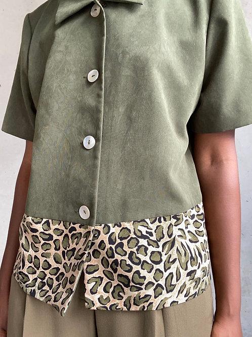 Sage Cheetah Print Lined Button Down