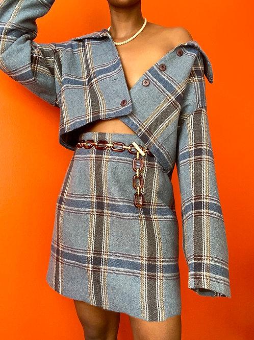 Blue Plaid Skirt Set