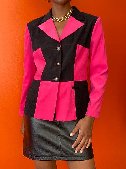 Pink & Black Block Print Blazer