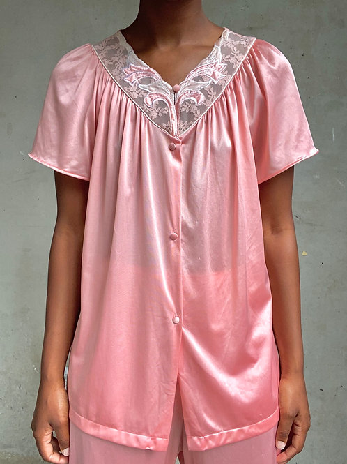 Pink Satin PJ Set