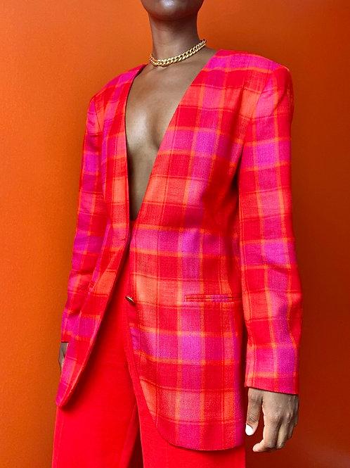 Pink & Orange Plaid Blazer