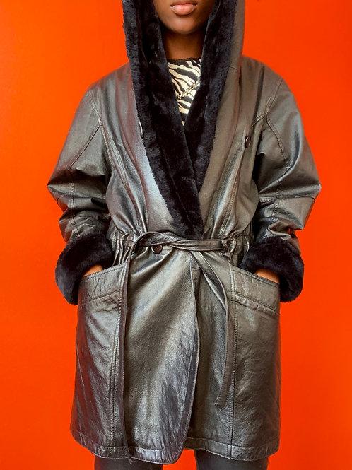 Faux Fur Trimmed Leather Coat