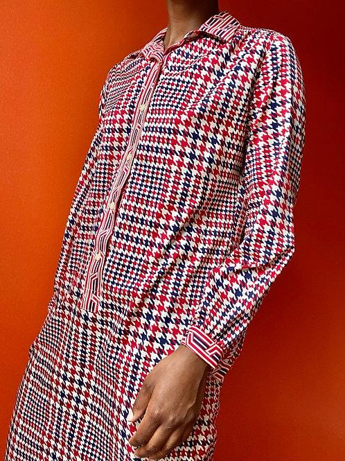 70s Lanvin Houndstooth Shirt Dress