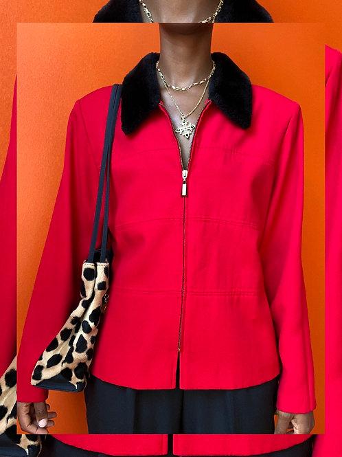 Red Fur Collar Jacket