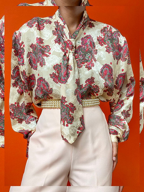 Paisley Print Necktie Blouse