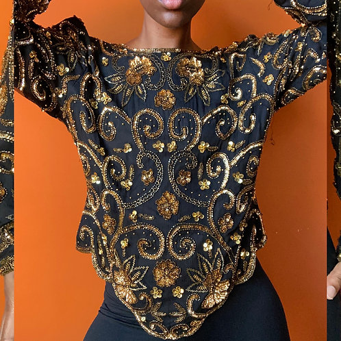 Long Sleeve Sequin Blouse