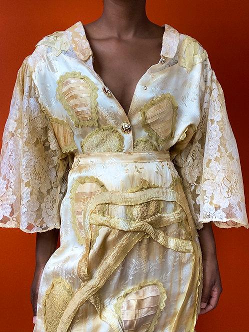 Gold Soutache Lace Sleeve Skirt Set