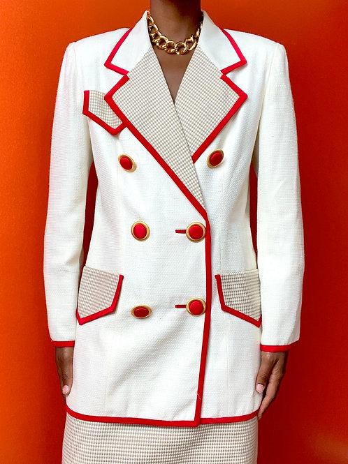 Red & White Buttoned Blazer Set