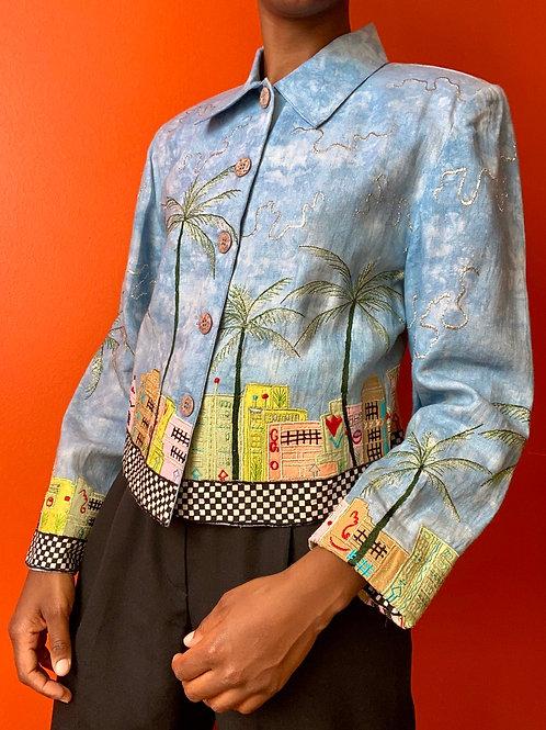 Boardwalk Embroidered Jacket- Light Blue