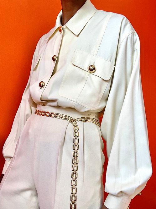 Cream Gold Button Jacket