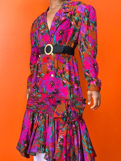 Floral Silk Bow Hem Dress