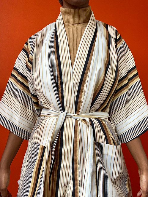 Striped Polyester Robe