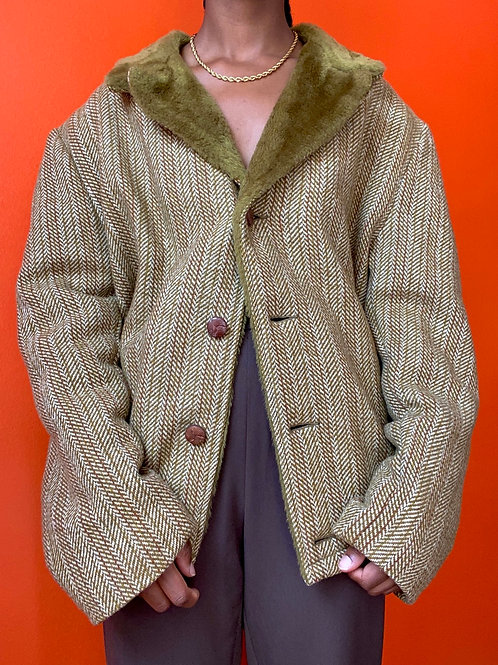 70s Green Tweed Wool Faux Fur Colat Coat