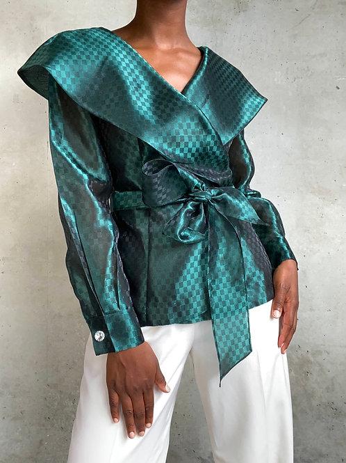 Emerald Check Print Organza Top