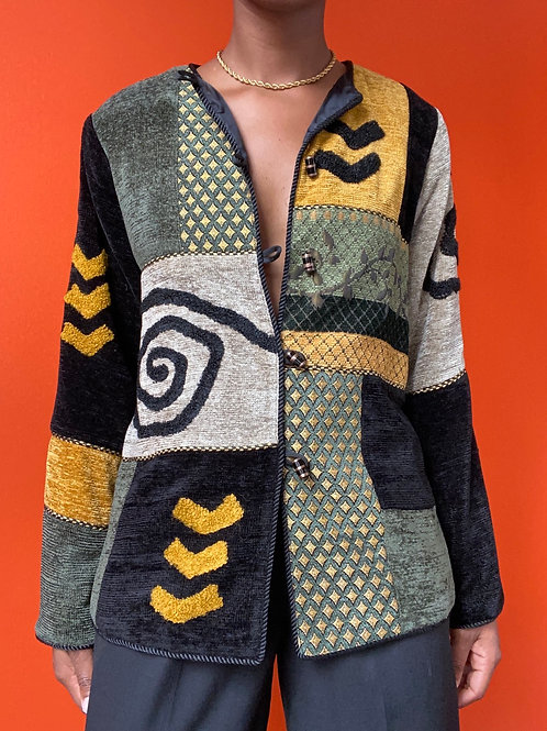 Abstract Print Patch Velvet Jacket